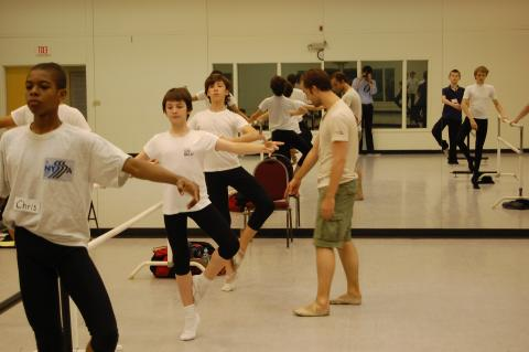 School of Ballet Boy Students practicing at bar
